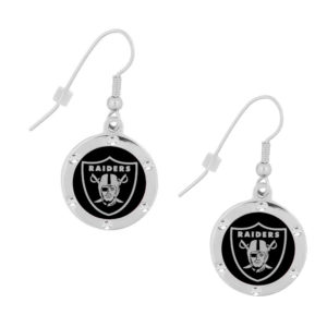 Oakland Raiders Crystal Heart Earrings