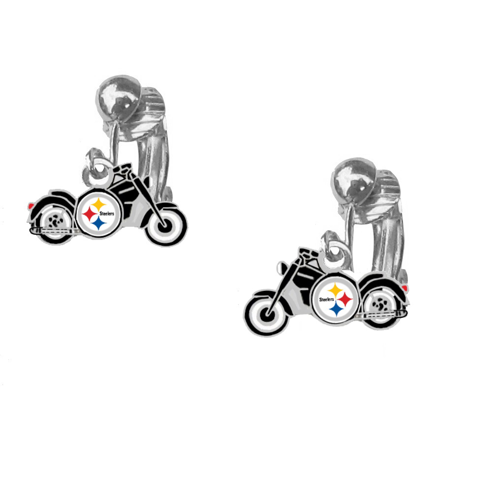 Pittsburgh Steelers Motorcycle Earrings Clip On Final